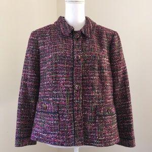 Talbots Purple Multicolor Tweed Jacket 14